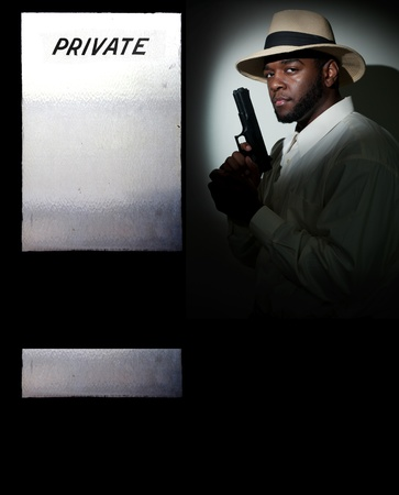 private security: Black African American police private detective man on the job with a gun