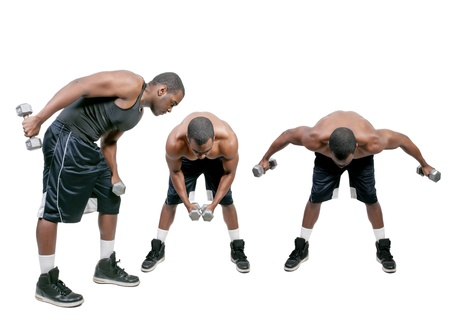 A black African American man lifting a weight photo