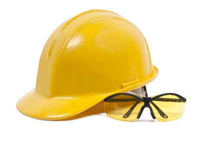 Safety glasses and hard hat personal protective equipment Foto de archivo