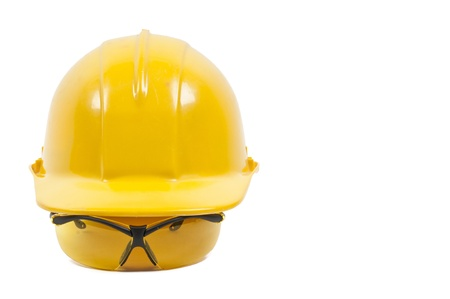 personal protective equipment: Safety glasses and hard hat personal protective equipment Stock Photo