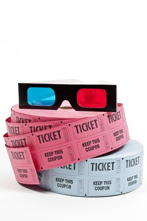 Pair of 3D glasses and rolls of movie tickets Reklamní fotografie