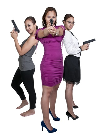 Beautiful black African American police detective women on the job with guns photo