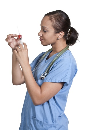 shot: Black African American woman doctor preparing a shot for a patient