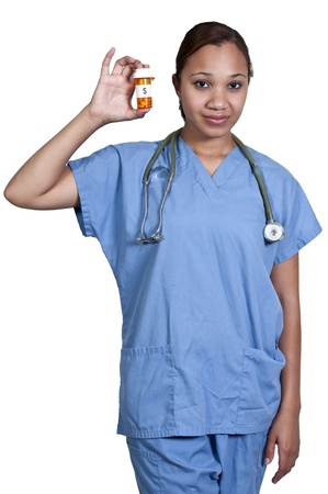 Black woman doctor holding a bottle of prescription pills in a bottle Stock Photo - 14878909