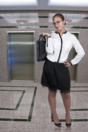 upwardly mobile: A beautiful young African American upwardly mobile business woman