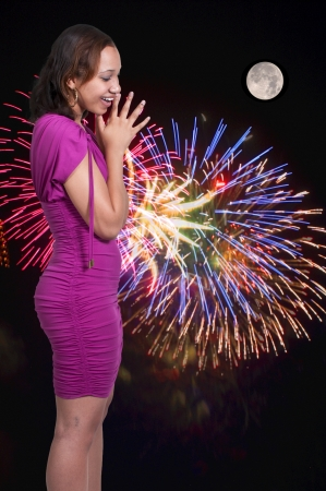 fourth of july: A very beautiful African American black woman with a big smile