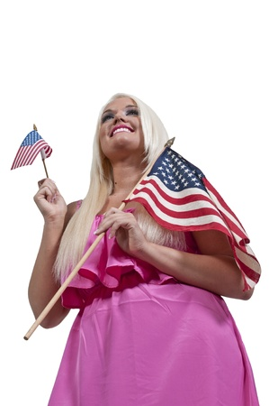 A beautiful young woman holding an American flag photo