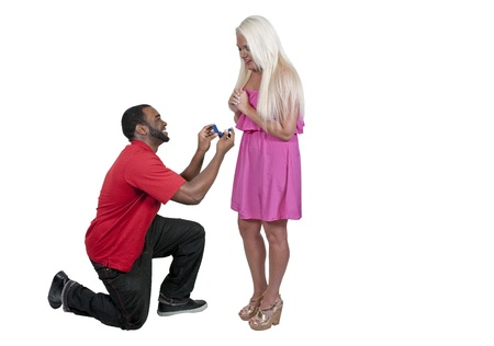 blonde minority: Man with a wedding ring proposing marriage to a woman