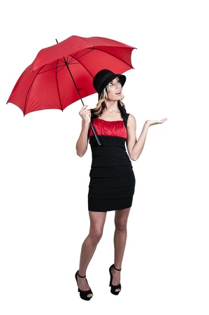 hot chick: A beautiful woman holding a colorful umbrella Stock Photo