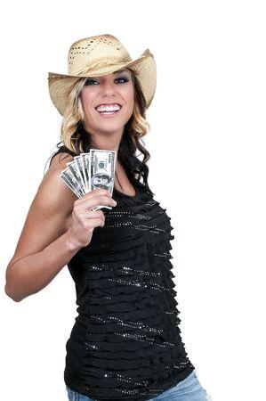 Beautiful woman holding a hand full of 100 dollar bills photo