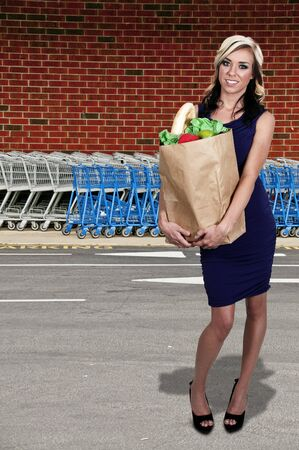 shopping buggy: A beautiful woman grocery shopping holding a brown paper bag