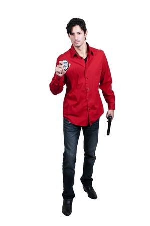 A police detective man on the job with a gun Stock Photo - 14879543