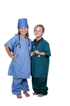 Little boy and girl doctor on their rounds photo
