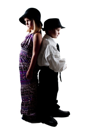 Little boy and girl dressed in oversized suit clothes Stock Photo - 14880278