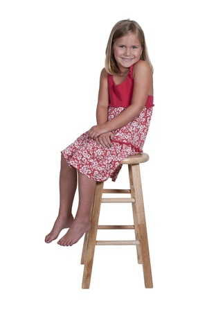 stool: Beautiful and young stylish little girl