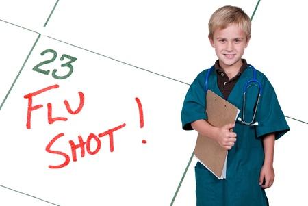 Een kalender herinnering voor een griepprik