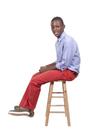 Handsome and young black African American stylish teenage boy Stock Photo