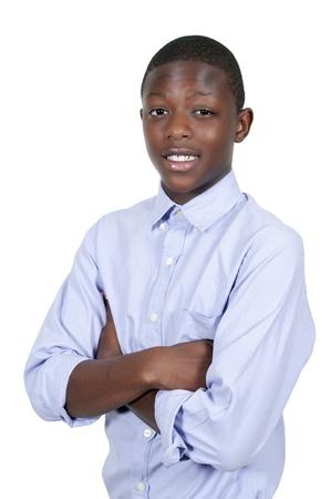 若くてハンサム ブラック アフリカ系アメリカ人のスタイリッシュな 10 代の少年 写真素材