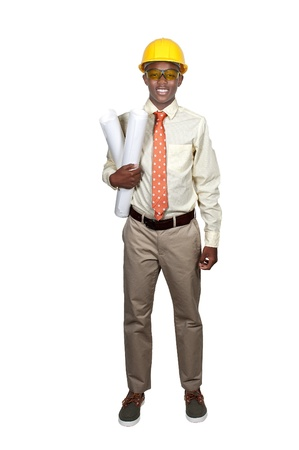 Black African American teenage man Construction Worker on a job site Stock Photo - 15113299
