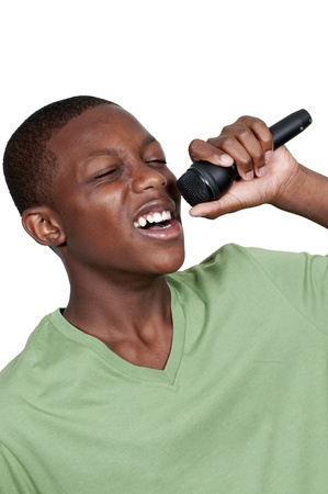 Young teenage black African American boy singer performing at a concert Stockfoto