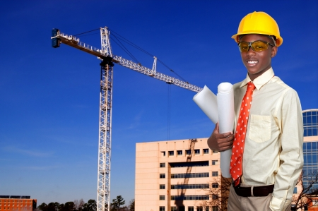 Black African American teenage man Construction Worker on a job site Stock Photo - 15113205