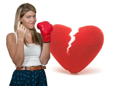 heartbreaker: A beautiful woman wearing a boxing glove signaling with her finger for someone to come here