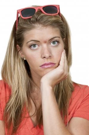 varicelle: Belle jeune femme avec une �vasion de l'acn� Banque d'images