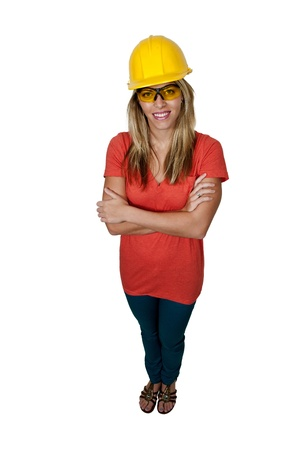 blonde minority: A Female Construction Worker wearing a hard hat and safety glasses