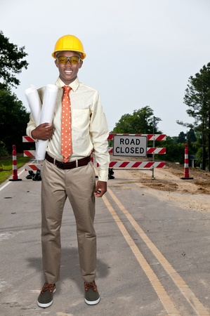 Black African American teenage man Construction Worker on a job site Stock Photo - 15112978