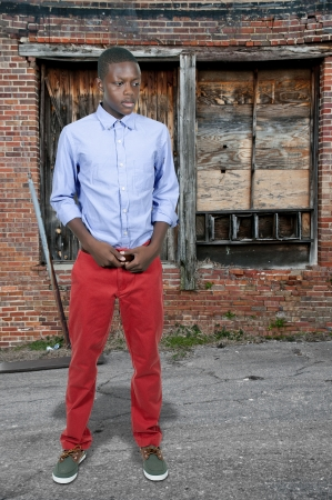 Handsome and young black African American stylish teenage boy Stock Photo - 15112901
