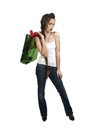 teenaged girl: A beautiful young woman on a shopping spree