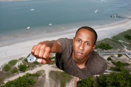 flying man: Handsome man super hero flying through the sky Stock Photo