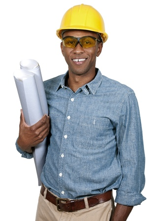 construction project: Black African American male construction worker a job site.