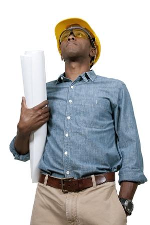黒アフリカ系アメリカ人男性の建設労働者、求人情報サイト。