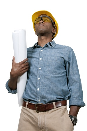 Black African American male construction worker a job site. Imagens - 15646782