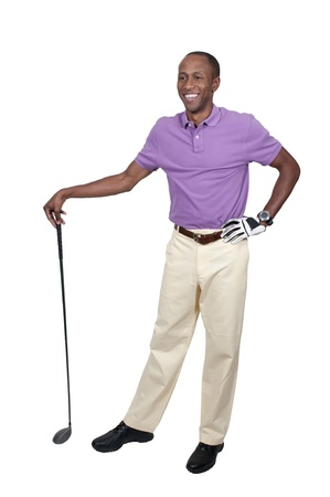 fashon: Handsome man playing a round of the sport known as golf Stock Photo