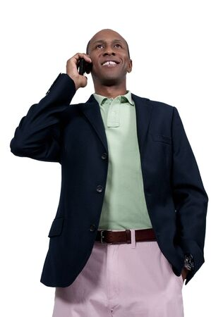 An African American man talking on the phone Stock Photo - 15646723