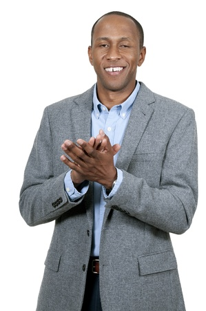 Handsome black African American man clapping hands photo