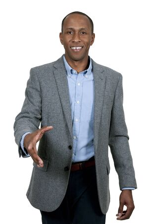 teamwork hands: Handsome African American businessman shaking hands Stock Photo