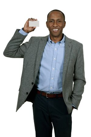 Handsome African American man holding up a business card 版權商用圖片
