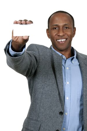 Handsome African American man holding up a business card photo