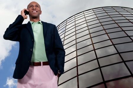 An African American man talking on the phone Stock Photo - 15646695