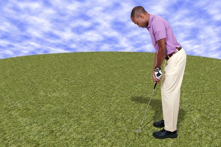 Handsome man playing a round of the sport known as golf Stock Photo - 15646770