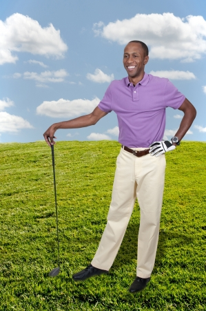 black hole: Handsome man playing a round of the sport known as golf Stock Photo