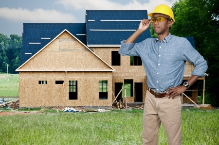 A black man African American Construction Worker on a job site. Stock Photo - 15646861