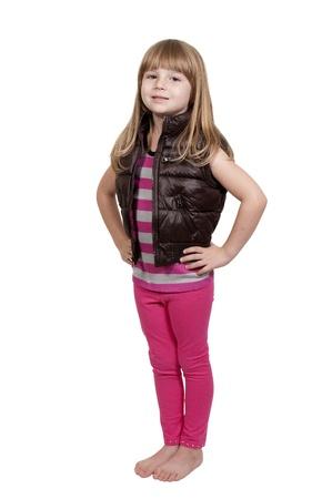 bare foot girl: Beautiful little girl wearing her new winter coat