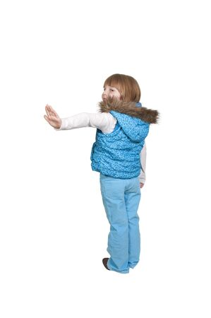 winter fashion: Beautiful little girl wearing her new winter coat