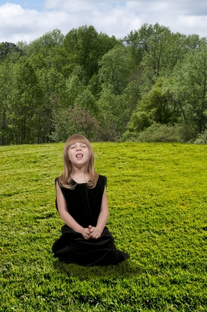 hanky: Beautiful little girl with a cold, hay fever or allergies sneezing