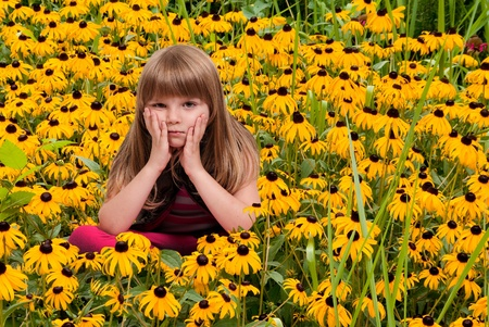 Beautiful little girl sitting in a field of Blackeyed Susans photo