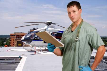 Man doctor and a mobile flying ambulance better known as a life flight